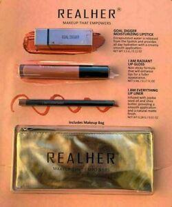 REALHER Lipstick Makeup That Empowers Kit Terracota Nude-Brown Brnt-Orange Bag