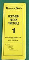 SOUTHERN PACIFIC Northern Region Timetable, Railroad Train, # 1, Nov 1985