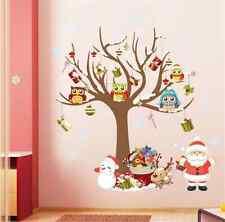 Christmas Santa Claus Owl Wall Sticker Mural Decal Art Vinyl Home Decor Xmas UK