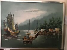 Chinese Fishing boat Original Oil On Board Painting Signed H Chan 35 X 19 Inches