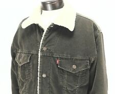 LEVI'S Sherpa Fleece Lined Corduroy Trucker Jacket  Brown Coat Men's Large L EUC