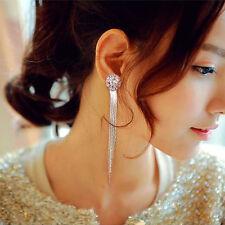 Beauty Womens Long Tassel Earrings Dangle Ear Clip Crystal Pendant Jewelry 1Pair