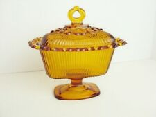 Indiana Glass Amber Pedestal Candy Dish 1958 Rectangular Open Lace Pattern