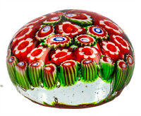 Glass Paperweight-Dome Shape with Millefiori Flower Design - 6x4cms - AU Seller