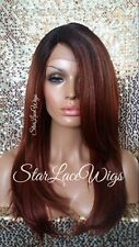 Lace Front Wig Human Hair Blend Straight Copper Orange Dark Root Swiss Heat Safe