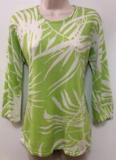 """NWT""QUEST-CE QUE C'EST? SZ XL, 3/4Sleeve Green/White Silk/Rayon Tunic Sweater"
