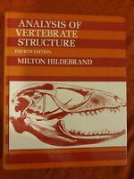 The Analysis of animal Vertebrate Structure by Hildebrand, Milton Hardback Book