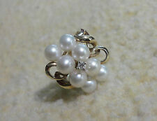 10K Yellow Gold Genuine White Cultured Pearl and Diamond Cluster Ring Size 7