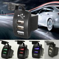 12V Dual 2 Port Car USB Charger Cigarette Lighter Waterproof Socket Plug  .+