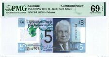 "Scotland(UK) 5 Pounds 2015 PMG 69 EPQ s/n FB/2 189701 ""Commemorative"" Polymer"