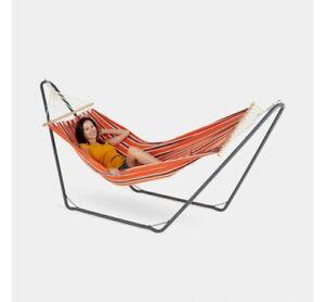 Single Orange Hammock with Grey Steel Frame Portable Garden Outdoor Swing Sun