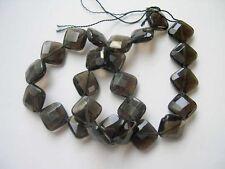 Smoky quartz faceted diamond Beads 14x14mm