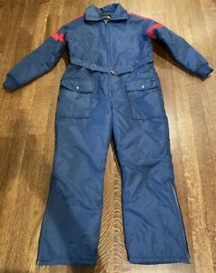 Sears Medium Belted Ski Snow Suit Blue Coverall Womens Vintage Zip Up Collared