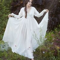 Summer Medieval Peasant Maiden Chemise Tier Boho Dress Long Maxi Ball Gown Dress