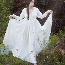 UK Victorian Medieval Peasant Women Boho Dress Maiden Chemise Tier Long Maxi Bal