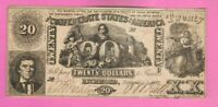 $20 Dollar Confederate Note Currency Paper Money Rebel CSA 1861 T20 Bill