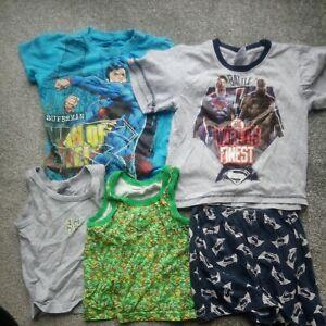 Superman T-shirt And Short Pyjama set, TMNT  Vests Bundle Age 3-4 Years