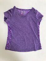 Layer 8 Girls Top Athletic Shirt Purple Animal Print Short Sleeve S