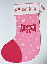 "Benefit Beauty to Go Pink and Red Christmas Stocking BNIP 9.5"" x 6.5"""