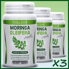3 x Moringa Oleifera LEAF EXTRACT Capsules 10,000mg SUPERFOOD Multivitamin Pill