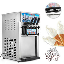 3 Flavor Soft Ice Cream Machine Commercial Frozen Yogurt Cone Maker 1200w