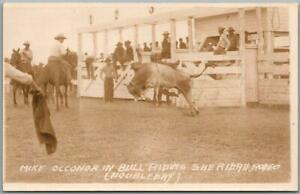 """1940s SHERIDAN RODEO, Wyoming RPPC Photo Postcard """"MIKE O'CONNOR in Bull Riding"""""""