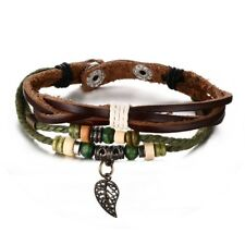 Vintage Braided Leather Men Bracelet Leaf Charm Wood Bead Wristband Multi Layers