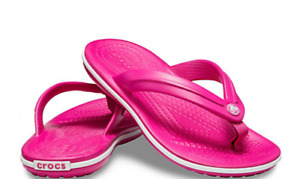 Crocs Woman's Crocband flip  SIZE  8    electric pink/white   Last Pair   NWT