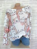 Oversize ITALY Strick Shirt Pulli Pullover Tunika Katze Print 38 40 42 Weiß E896