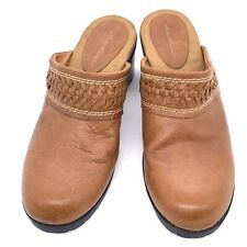 Womens Eddie Bauer Size 8.5 Tan Leather Clogs Slides Mules Shoes Slip-on Happy