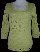 Damen Strickpullover Strick Stretch Pullover Sweatshirt Grün 40 M Selbst made