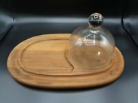 MID CENTURY DANSK  STAVED  TEAK WOOD CHEESE BOARD W/ GLASS DOME