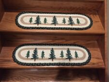 Tall Timber (Pine) Print Braided Stair Tread by Earth Rugs