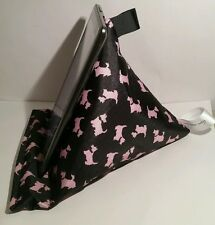 Wipe clean pvc Tablet stand cushion kindle ipad ebook holder Scottie dog Pink
