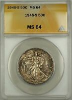 1945-S Walking Liberty Silver Half Dollar 50c Coin ANACS MS-64 Toned