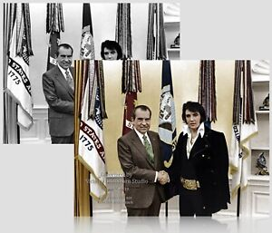 Colorized Photo Poster: Elvis Presley & Richard Nixon at White House -- 6 Sizes!