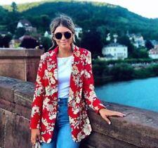 Zara Red Floral Printed Blazer Jacket Size  S