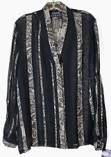 NWT Blue Ice High Style Women's 12 Sheer Black LS Button Front Dress Shirt