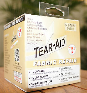 TEAR AID TYPE A - REPAIR ROLL, PATCH CANVAS, NYLON, FABRIC, SAIL, PARACHUTE,