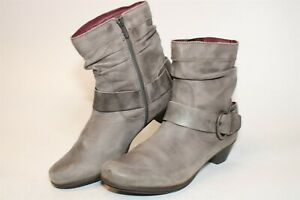 Pikolinos Womens 40 9 9.5 Gray Leather Side Zip Buckle Harness Booties Boots
