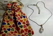 Brighton DUAL HEARTS Necklace Silver Gold Hearts in Oval Pendant New NWOT+Pouch