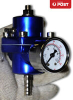 UNIVERSAL SILVER FUEL PRESSURE REGULATOR WITH GAUGE 30-140 PSI ADJUSTABLE BLUE