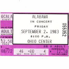 ALABAMA Concert Ticket Stub COLUMBUS OHIO 9/2/83 EXPO CENTER COLISEUM Rare