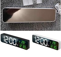 Dual Alarm Clock Thermometer Temperature Date HD LED Display Electronic USB