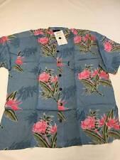 Mens MANGO MOON Blue Button Up Rayon Hawaiian Shirt Sz S NEW NWT Short Sleeve