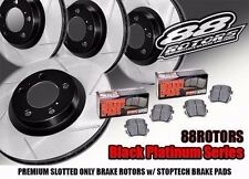Front + Rear Slotted Black Platinum Series Rotors & Stoptech Brake Pads MRS