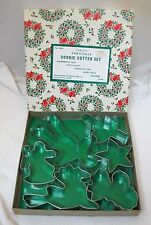 Boxed Lot of Vintage Christmas Cookie Cutters w Wreath Paper Wrapped Box