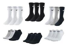 3 PACK NIKE Logo Sports Ankle Socks, Pairs Men's Women's - Black White Grey