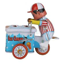 Retro Wind Up Ice Cream Vendor Cart Mechanical Clockwork Tin Toy Collectible
