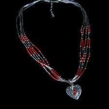 5 Strand .925 Liquid Sterling Silver Genuine Red Coral Heart Necklace
